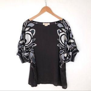 Michael Kors silk print gray top blouse plus 1X